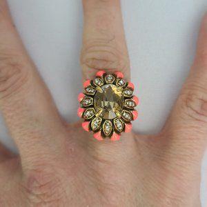 Stella & Dot Pink Rhinestone Adjustable Ring